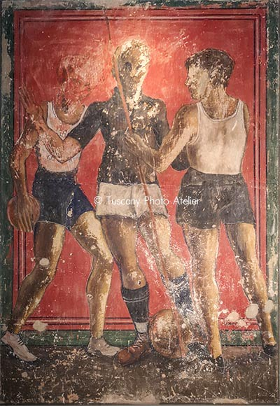 Young people with gymnastic uniforms - Fresco of Dilvo Lotti