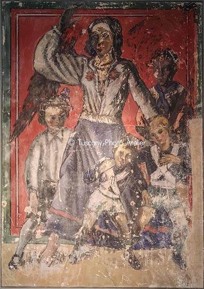 Young fascists, little Italians, balilla, children of the she-wolf - Fresco of Dilvo Lotti